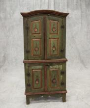 Danish pine step-back cupboard, raised panel doors in upper & lower sections, raised on a tall bracket base, painted green with red ...