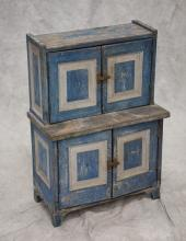 Scandinavian miniature step-back cupboard, blue painted with white moldings, gray painted interior, 34