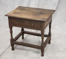 Continental oak tavern table with one drawer, turned legs and outside stretcher base, 18th C, 25