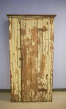 Yellow pine tongue in groove single door cupboard with green tinted cream paint, 85