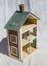 Painted wood & fiberboard 5-room dollhouse, 44