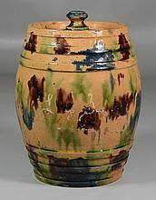 Multicolor Splatter Glaze Covered Storage Jar, lid with multiple chips and large piece broken off (present), jar with minor rim chip...