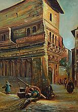 G Valente (Spanish, 20th Century), oil on canvas, Village Scene, signed lower right, 26 1/2