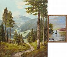 (2) American School, 20th Century landscapes: