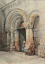 Ernest George (British, 1839-1922) watercolor, Cathedral in Saumur (France), signed lower right, 13 1/4