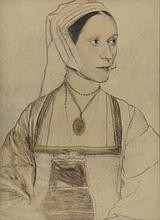 After Hans Holbein (German, 1497-1543), hand colored print,