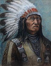 Deb Jackson (American, 20th Century), pastel on canvas, Native American Chief, signed and dated 1968 lower left, 27 1/4