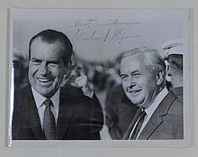 Nixon, Richard, 1969 signed photograph with Harold Wilson