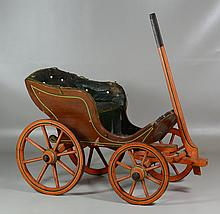 Victorian Painted Doll Carriage, original paint, leather upholstery in poor condition, 14 1/2