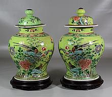 Pair of Chinese Famille Verte Decorated Covered Jars, both with marks to base, one with damaged mismatched lid, together with pair o...
