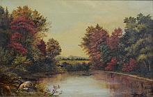 American School (20th Century), oil on canvas, Autumnal Landscape, 12