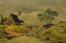 R Freudenstein (Continental School, 20th Century), oil on canvas, House Along River, signed and dated 1932 lower right, 10 1/2