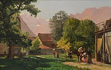 Continental School (20th Century), En Plen Air Artist and Figures in Mountains, oil on canvas, signed illegibly lower left, 24 3/4