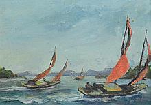 John Spivey (American, CA, 20th Century), oil on board, Seascape, 9 1/2