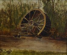 American School (19th Century), oil on canvas, Watermill Wheel, 5 1/2