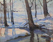 Strout (American, 20th Century), oil on canvas, Winter Woods, signed lower right, 15 1/4
