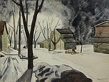 Miriam Shomer Zunser (Russian/American, 1882-1951), watercolor, Snowy Street Scene, signed lower right, 22