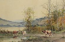 American School (20th Century), watercolor, Cows in Mountain Landscape, 15 1/2