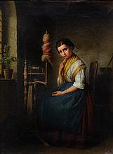 Attributed to Karl Friedrich Boser (German, 1809-1881), oil on canvas, Young Girl at Spinning Wheel, 22