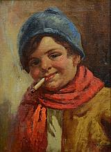 R Fugerio (Italian, 19th Century), oil on canvas, Boy Smoking, signed lower right, 15 1/4