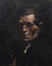 William Merritt Chase (American, 1849-1916), oil on board, Study of Man, 19 3/4