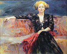 American School (20th Century), oil on masonite, Lady in Black Lace, signed and dated illegibly lower right, 19