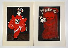 (2) Kaoru Kawano (Japanese, 1916-1965), color woodblock, Girl with Butterflies and Geisha, each pencil signed lower right, each meas...