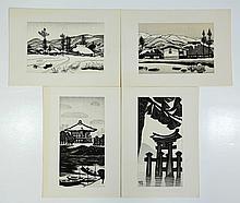 (4) Gihachiro Okuyama (Japanese, 1907-1981), woodblocks: 9 1/4