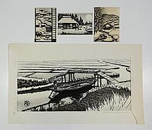(4) Gihachiro Okuyama (Japanese, 1907-1981), woodblocks: largest pencil signed,  measuring: 9 5/8