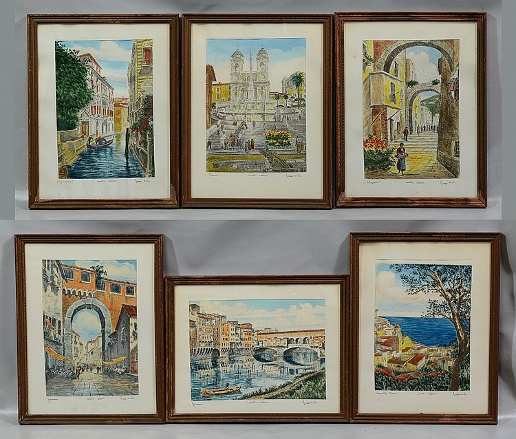 (6) Bela Sziklay (Hungarian, 20th Century), color etchings, Views of Italy, each titled and pencil signed lower right, each measures...