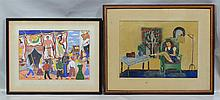 (2) 20th Century Illustrations : Jean Faught Kuhs (American, PA, 20th Century), gouache on paper, Carnival Scene, signed and dated 1...
