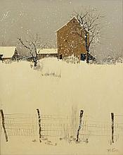 Rex Fluty (American, 1936-2009), acrylic on canvas, Snowy House Scene, signed lower right, 31 1/4