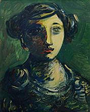 Sylvain Vigny (French, 1902-1970), oil on board, Portrait of Girl, signed lower left, 17 5/8
