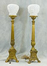 Pair of Gilt Metal torchiere lamps with cherub shades, 20th C, Height: 40