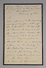 Somerset, Fitzroy, Baron Raglan, British Field Marshall, ALS, February 9, 1852