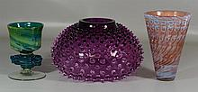 3 Contemporary art glass vases, all signed, large amethyst hobnail bowl signed Union Street Glass 2005, approx 8 1/2