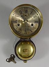 Seth Thomas Ship's Bell clock, brass with a silvered dial, some wear, marked Seth Thomas, with external bell, 5-1/2