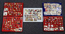 5 Boxes of military emblem pins, approx 300+