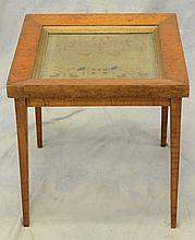 1798 Sampler Mounted as Table, decorated with motto, birds, heart, house, bumble bees, deer with trees, etc., with  multiple initial...