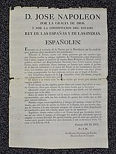 King Joseph (Napoleon) Broadside in Spanish, dated 1808, Brother of Napoleon, given Spain to reign, written inscription on verso, mu...