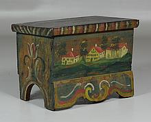 Jacob Weber style miniature painted pine blanket chest, lift lid with unusual apron, tulip decorated sides, village scene on front, ...
