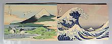 Katsushika Hokusai (Japanese, 1760-1849), color woodblock prints, Folio of 36 Views of Fuji, printed circa 1930,  bound in the Japan...
