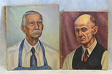 (2) Frank Stepler (American, PA 20th Century), oil on canvas, Portraits of Men, Largest measuring 20