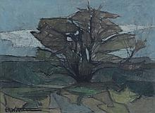 American School (20th Century), oil on panel, Landscape, signed illegibly lower left, 17 1/2