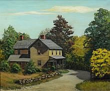 Elizabeth C Karl (American, DE, 20th Century), oil on canvas, Farm House, signed and dated 1951 lower left, 19 3/4