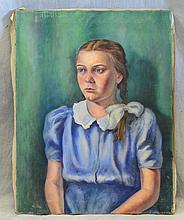 Frank Stepler (American, PA, 1905-1990), oil on canvas, Portrait of Girl, 26
