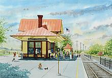 Russell Lee Finley (American, DE, 20th Century), watercolor, East Strasburg Train Station, 19 1/2