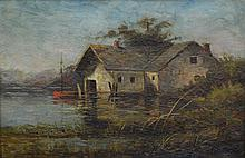 Continental School, (Early 20th Century), oil on canvas, House on the Water, 9 3/4