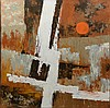 Stephen Kaye (American, 20th Century), acrylic on canvas, Geometric Abstract, signed lower left, 36