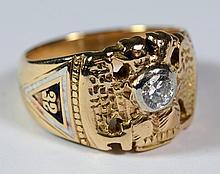 14K YG 32nd Degree Masonic diamond ring, 35-45 point diamond, 6.7 dwt, size 8 3/4